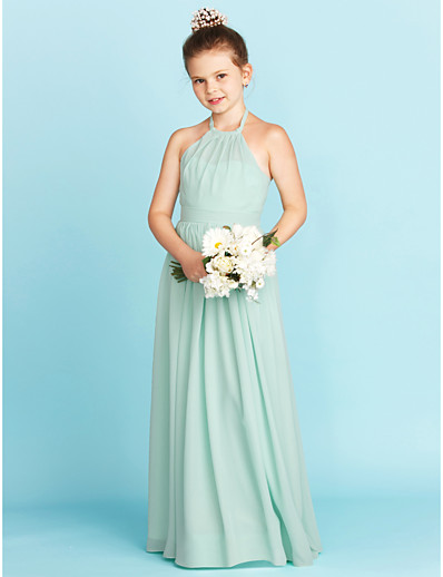 3435b1117 ADOR A-Line / Princess Halter Neck Floor Length Chiffon Junior Bridesmaid  Dress with Sash / Ribbon / Pleats