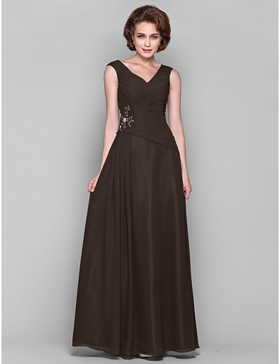 2bc12fac9bc ADOR A-Line V Neck Floor Length Chiffon Mother of the Bride Dress with  Beading   Appliques   Draping