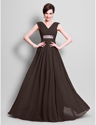 654d78ba0d9 ADOR A-Line V Neck Floor Length Chiffon Mother of the Bride Dress with  Beading   Side Draping