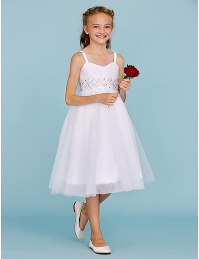 10d1beaf718 ADOR A-Line Princess Spaghetti Straps Knee Length Tulle Junior Bridesmaid  Dress with Beading Draping