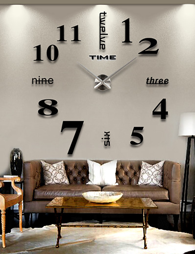 cheap Home & Garden-Modern Contemporary Stainless Steel / EVA Round Romance Indoor / Outdoor AAA Decoration Wall Clock Digital Brushed Steel No 120*120cm