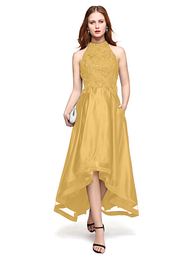 436e5264c4 ADOR Prom Dress A-Line Jewel Neck Asymmetrical Lace Over Satin with Lace    Pleats