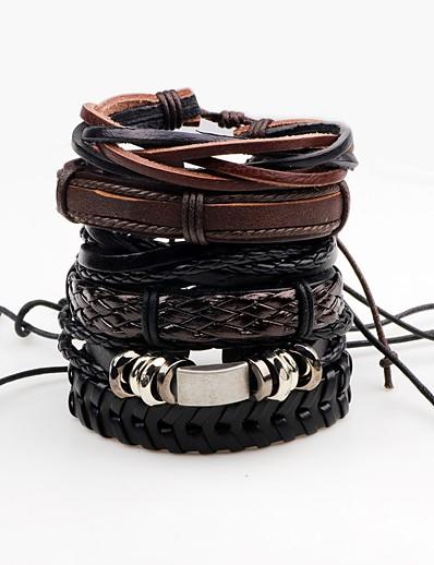 abordables Tendances 2021-Bracelet enveloppant Bracelets en cuir Homme Corde Torsadé tissé Cuir Roche Bracelet Bijoux Noir Forme de Ligne Irrégulier pour Scène Soirée