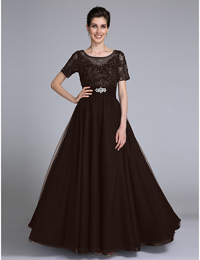 df9e2f7c3e6 ADOR Sheath   Column Scoop Neck Floor Length Chiffon   Lace Mother of the Bride  Dress with Beading   Appliques   Crystals