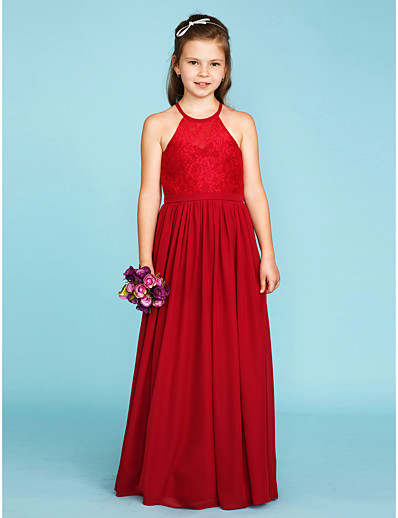 de696651c ADOR A-Line / Princess Jewel Neck Floor Length Chiffon / Lace Junior  Bridesmaid Dress with Sash / Ribbon / Pleats