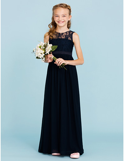 e8ecdfa16f4dd ADOR A-Line / Princess Crew Neck Floor Length Chiffon / Lace Junior  Bridesmaid Dress with Sash / Ribbon / Pleats