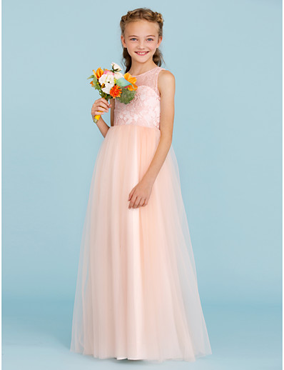 59e5aaa442 ADOR A-Line Princess Crew Neck Floor Length Lace Tulle Junior Bridesmaid  Dress with Pleats