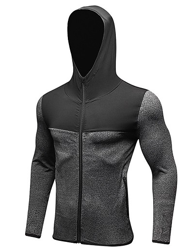 cheap Running, Jogging & Walking-YUERLIAN Men's Long Sleeve Running Track Jacket Hoodie Top Winter Windproof Quick Dry Fitness Gym Workout Exercise Sportswear Red Blue Grey Black Activewear Stretchy