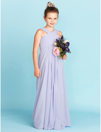 7f3ff20e2 ADOR Sheath / Column V Neck Floor Length Chiffon Junior Bridesmaid Dress  with Criss Cross / Pleats