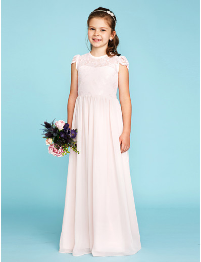 641b56c9c2 ADOR A-Line   Princess Crew Neck Floor Length Chiffon   Lace Junior Bridesmaid  Dress with Buttons   Pleats
