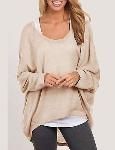 cheap Cardigans-Women's Going out Solid Colored Long Sleeve Loose Regular Cardigan Sweater Jumper, Round Neck Fall / Winter Cotton Black / White / Purple S / M / L