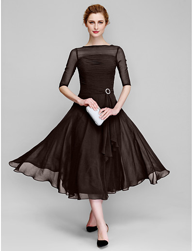 cheap Mother of the Bride Dresses-A-Line Bateau Neck Tea Length Chiffon Half Sleeve Elegant Mother of the Bride Dress with Ruched 2020 / Illusion Sleeve