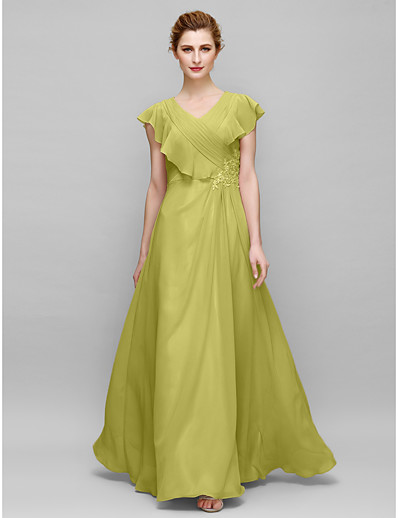 5a53745f86a ADOR Sheath   Column V Neck Floor Length Chiffon Mother of the Bride Dress  with Appliques   Criss Cross