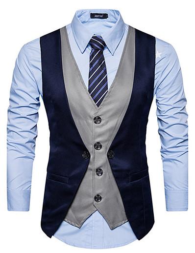preiswerte Herren Überbekleidung-Herren Weste Alltag Einfarbig Schlank Polyester Herren Anzug Rote / Schwarz / Dunkelgray - V-Ausschnitt