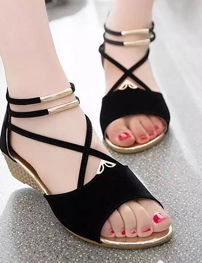 cheap Sandals-Women's Sandals Wedge Heel Nubuck leather / Suede Comfort Spring / Summer Beige / Red / Blue / EU39