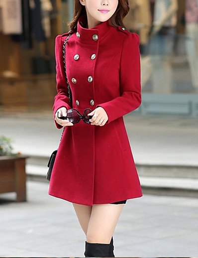 cheap Trench Coats-Women's Daily Basic Fall Regular Coat, Solid Colored Stand Long Sleeve Polyester Red / Wine / Army Green