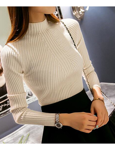 cheap Sweaters & Cardigans-Women's Solid Colored Pullover Long Sleeve Regular Sweater Cardigans Turtleneck Winter Spring White Black Blushing Pink