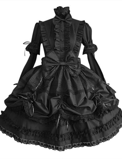 cheap Cosplay & Costumes-Gothic Lolita Plus Size Punk Princess Dress Cotton Women's Girls' Japanese Cosplay Costumes Plus Size Customized Black Solid Colored Ball Gown Long Sleeve Puff Balloon Sleeve Medium Length