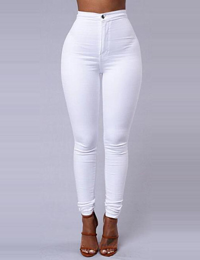 cheap WOMEN'S FASHION-Women's Basic Daily Going out Slim Pants - Solid Colored Winter White Black Wine L XL XXL