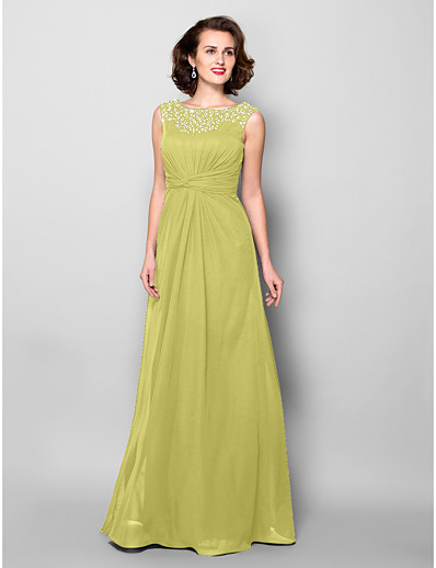 680e23ea3c5 ADOR A-Line Jewel Neck Floor Length Chiffon Mother of the Bride Dress with  Beading   Crystals   Criss Cross