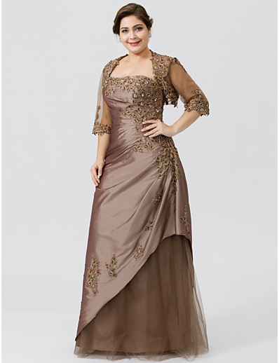 f171ed78b8 ADOR Plus Size A-Line Strapless Floor Length Taffeta Tulle Beaded Lace  Mother of the Bride Dress with Beading Appliques Pleats