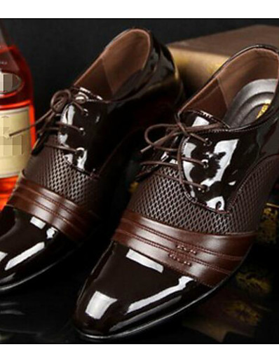 cheap MEN-Men's Comfort Shoes PU Spring / Fall British Oxfords Black / Brown / EU40