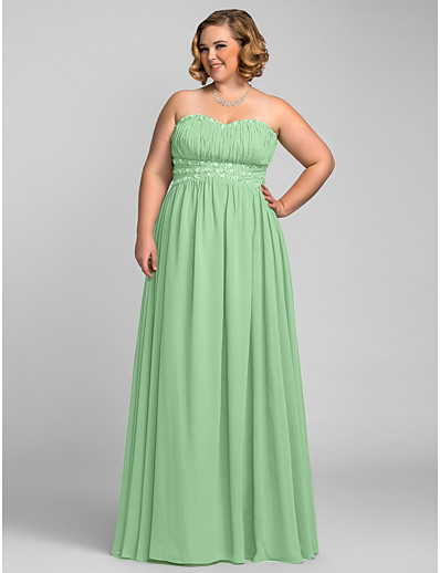 ca58fdb2020 ADOR Prom Dresses Plus Size A-Line Sweetheart Neckline Floor Length Chiffon  with Beading   Pleats