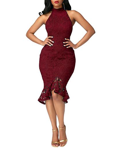 cheap Elegant Dresses-Women's Ruffle Party Club Street chic Bodycon Dress - Solid Colored Lace Ruffle Crew Neck Summer Blue Black Wine L XL XXL / Skinny