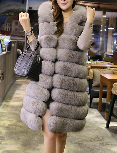 cheap Furs & Leathers-Women's Daily / Going out Street chic Winter Long Fur Coat, Solid Colored Hooded Long Sleeve Faux Fur Red / Blushing Pink / Gray / Loose