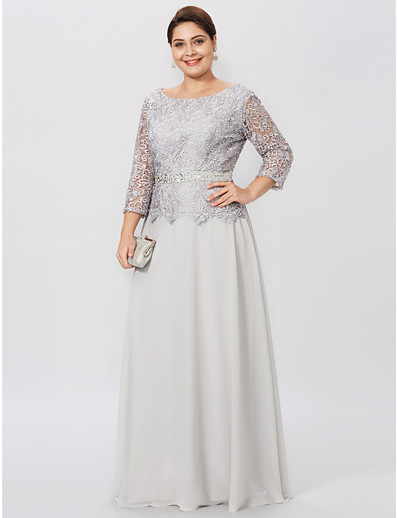 429f6400b8e ADOR Plus Size Sheath   Column Jewel Neck Floor Length Chiffon Corded Lace  Mother of the Bride Dress with Beading Sash   Ribbon