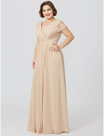 a6348551090 ADOR Plus Size Sheath   Column V Neck Floor Length Jersey Mother of the Bride  Dress with Beading Appliques Pleats