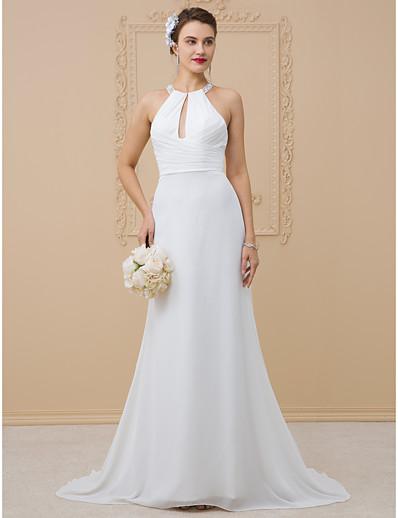 633187127 ADOR Sheath / Column Halter Neck Floor Length Chiffon / Sheer Lace Wedding  Dresses with Beading / Criss Cross