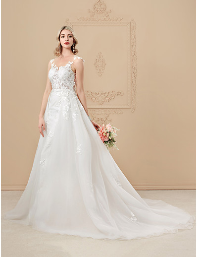 fb0beb2ed ADOR A-Line / Princess Jewel Neck Chapel Train Satin / Tulle Over Lace Wedding  Dresses with Appliques / Buttons