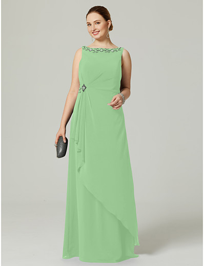 46c8328c787 ADOR Evening Dress Plus Size Sheath   Column Boat Neck   Bateau Neck Floor  Length Chiffon with Beading   Pleats