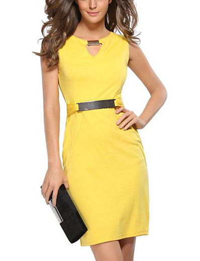 cheap Work Dresses-Women's Plus Size Going out Slim Bodycon Dress - Solid Colored V Neck Black Yellow Blue S M L XL
