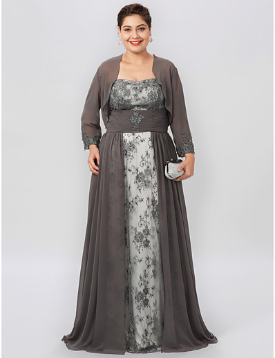 e7747b2967f ADOR Plus Size A-Line Strapless Floor Length Chiffon Beaded Lace Mother of  the Bride Dress with Beading Appliques Ruched