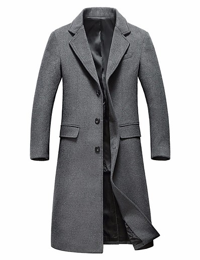 cheap Men's Outerwear-Men's Winter Notch lapel collar Overcoat Long Solid Colored Daily Basic Long Sleeve Wool Black Gray M L XL XXL / Sophisticated