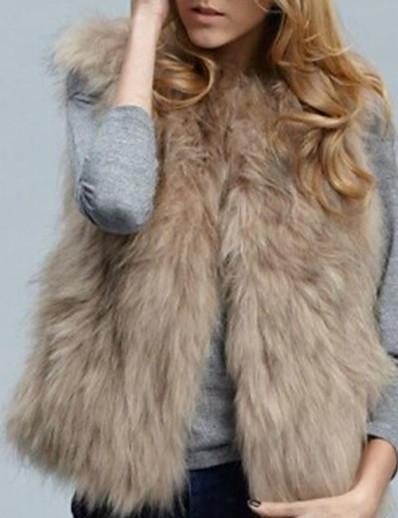 cheap Furs & Leathers-Women's Vest Daily Winter Regular Coat V Neck Regular Fit Streetwear Jacket Sleeveless Solid Colored Stylish Camel White / Plus Size