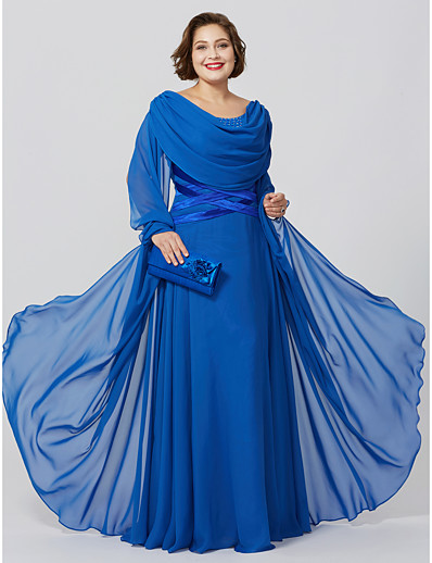 ac42a919d90 ADOR Plus Size Sheath   Column Cowl Neck Floor Length Chiffon Mother of the  Bride Dress with Crystal Detailing Criss Cross