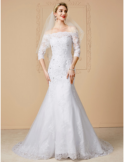 01525d2da ADOR Mermaid / Trumpet Off Shoulder Court Train Lace Over Tulle Wedding  Dresses with Beading / Appliques