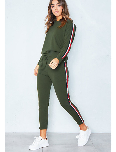 cheap Two Piece Set-Women's Sports Casual Cotton Hoodie - Solid Colored, Stripe Pant / Winter / Sporty Look/StayCation
