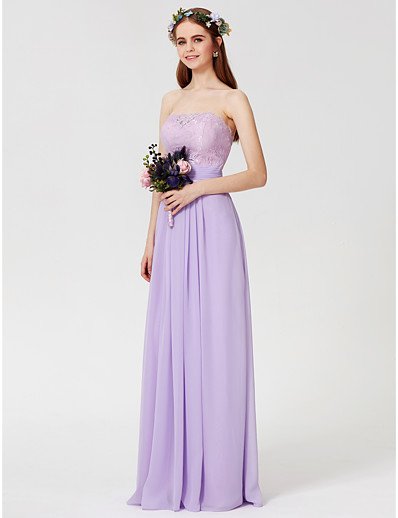 f46c99121ed ADOR Sheath   Column Strapless Floor Length Chiffon   Lace Bodice Bridesmaid  Dress with Lace   Sash   Ribbon   Ruched