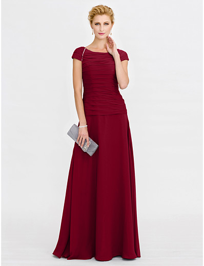 9ae68f2d240 ADOR Sheath   Column Scoop Neck Floor Length Chiffon Mother of the Bride  Dress with Beading Ruched