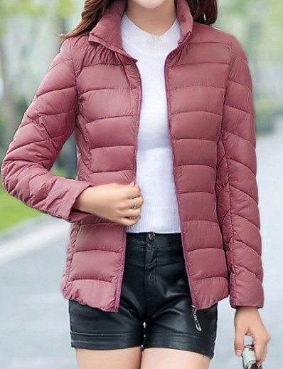 cheap Down& Parkas-Women's Short Padded Coat,Casual Going out Solid-Cotton Long Sleeve