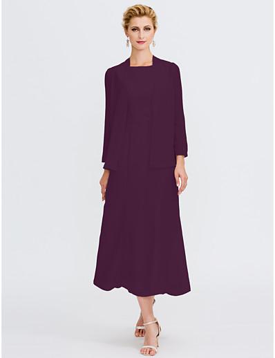 9025b9695bc ADOR Sheath   Column Jewel Neck Tea Length Chiffon Mother of the Bride Dress  with Beading Sash   Ribbon Pleats