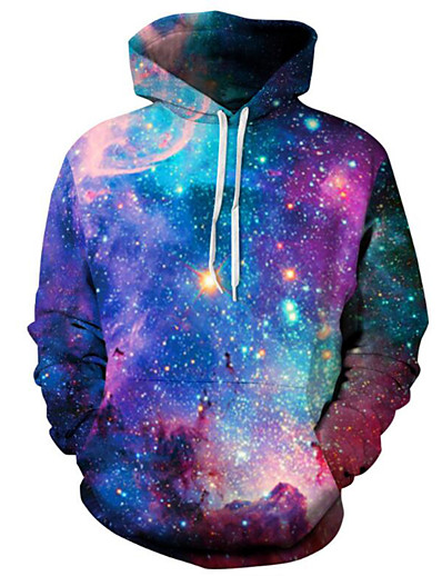cheap Men's Tops-Men's Plus Size Hoodie Galaxy 3D Hooded Daily Active Hoodies Sweatshirts  Long Sleeve Purple / Spring / Winter
