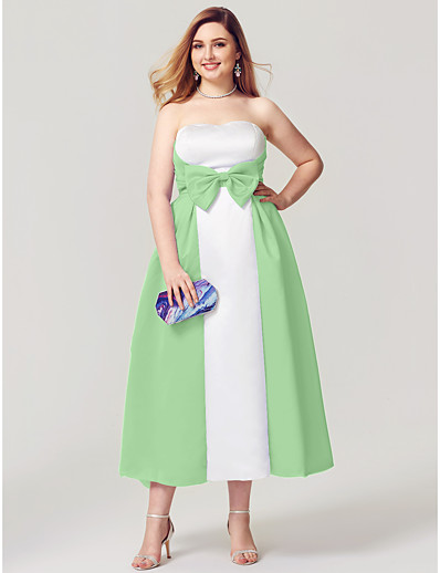 0ab23712808 ADOR Cocktail Dresses Plus Size A-Line Strapless Tea Length Satin Open Back    Color Block with Bow(s)   Side Draping   Pleats