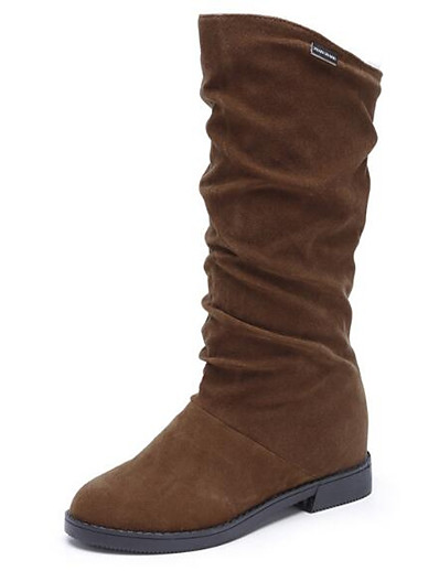 cheap BEST SELLERS-Women's Boots Low Heel Nubuck leather Mid-Calf Boots Snow Boots Winter Black / Brown / Wine / EU39
