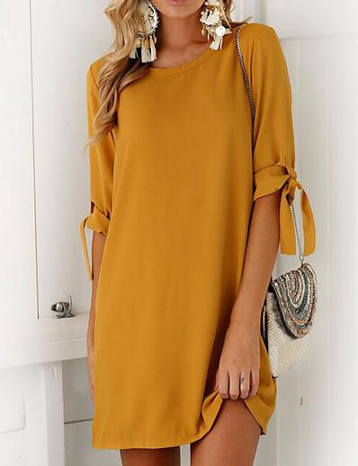 cheap Casual Dresses-Daily Street chic Mini Shift Dress Solid Colored Bow Summer Gray Purple Khaki M L XL