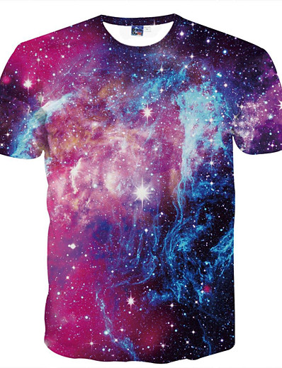 cheap Men's 3D-Men's T shirt Galaxy Graphic Print Short Sleeve Daily Tops Basic Purple